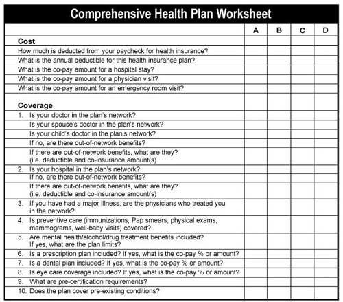 Your Health Plan Worksheet Augusta, Georgia (GA